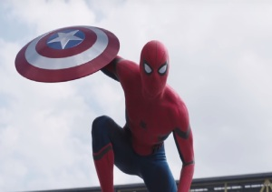 Captain America: Civil War Spider-Man catches caps shield Tom Holland