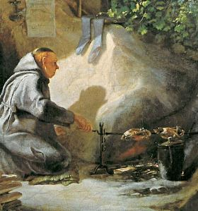Monk cooking chicken middle ages england
