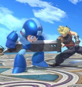 Cloud hits Megaman with sword super Smash Bros ultimate Nintendo Switch SquareEnix final fantasy vii