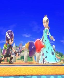 Inkling hits rosalina and luma with paint brush super Smash Bros ultimate Nintendo Switch splatoon