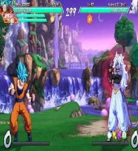 Super Saiyan Blue Goku vs evil Android 21 dragon Ball FighterZ Nintendo Switch Xbox One PS4