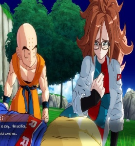 Android 21 hurts Android 18 and tricks Krillin dragon Ball FighterZ Nintendo Switch Xbox One PS4