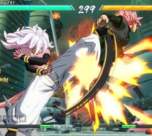 Android 21 kicking Goku Black dragon Ball FighterZ Nintendo Switch Xbox One PS4