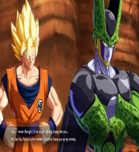 Cell talking with Goku Dragon Ball FighterZ Nintendo Switch Xbox One PS4