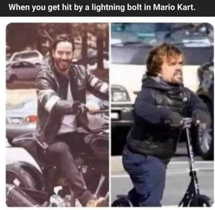 Memes lightning bolt Mario Kart