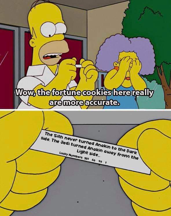Memes anakin dark side of the force Simpsons fortune cookie