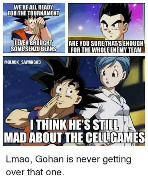 Memes gohan mad at goku senzu beans