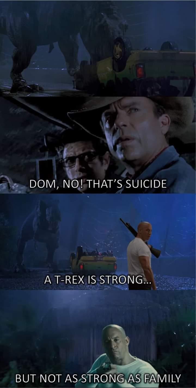 Memes Dom vs jurassic Park trex