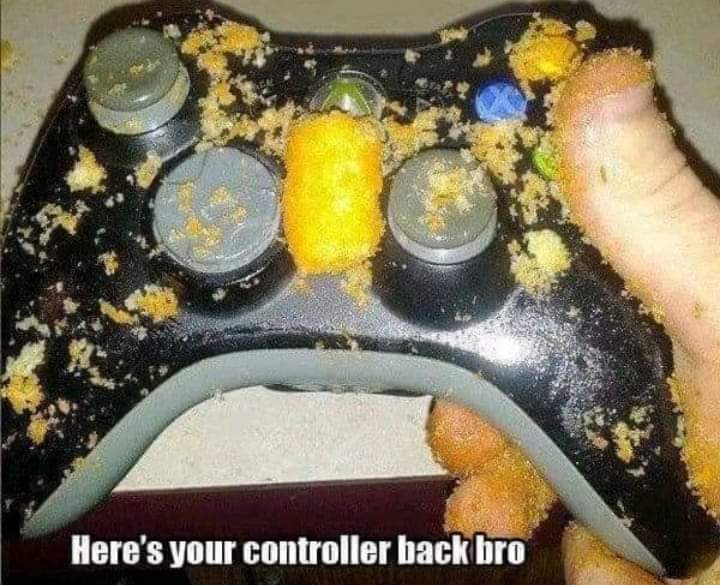 Memes Xbox controller covered in cheetos