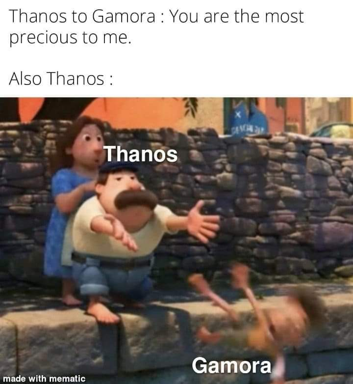 Memes Thanos throwing gamora
