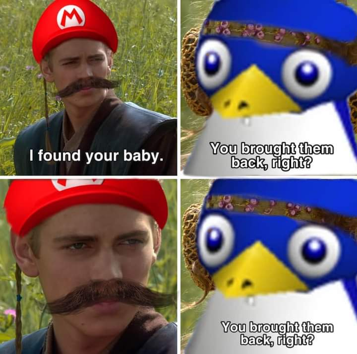 Memes Super Mario 64 penguin baby and mother