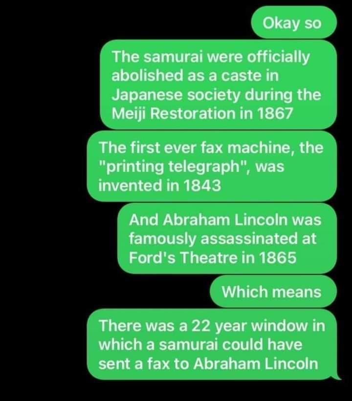 Memes samurai fax to Abraham Lincoln