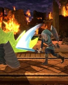 Link slashing tail Ganon boss super Smash Bros ultimate Nintendo Switch