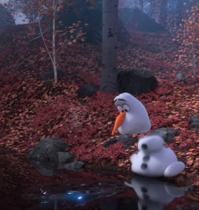 Olaf looking at water pond Frozen 2 disney