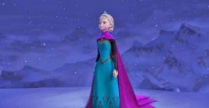 Frozen queen elsa on snow mountain singing let it go