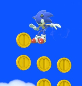 Sonic the Hedgehog getting Mario coins Golden Plains stage super Smash Bros ultimate Nintendo Switch