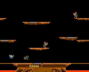 Two players joust arcade game
