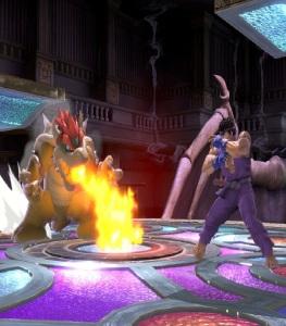 Bowser breathing fire on Ryu Kalos Pokémon league stage super Smash Bros ultimate Nintendo Switch