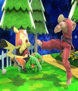 Ken kicking Pikachu Libre super Smash Bros ultimate Nintendo Switch street fighter Capcom