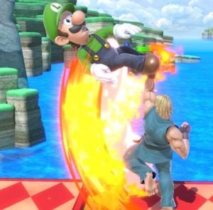 Ken uppercutting Luigi super Smash Bros ultimate Nintendo Switch street fighter Capcom