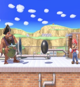 King K Rool shooting cannon ball at Mario super Smash Bros ultimate Nintendo Switch
