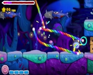 Underwater level Kirby and the Rainbow Curse WiiU Nintendo