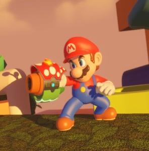 Mario holding piranha blaster Mario + Rabbids Kingdom Battle Nintendo Switch