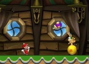 RaccRaccoon Mario during boss battle New Super Mario Bros U Nintendo WiiU