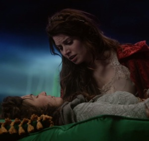 Ruby Red wakes Dorothy Gale from sleeping curse with true loves kiss Once upon a time ABC