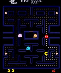 Blue ghost red ghost orange ghost pink ghost Pac-Man arcade game