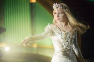 Glinda the good witch casting spell with wand Oz The Great and Powerful
