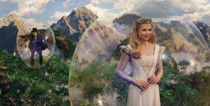 Glinda transports Oscar Diggs in bubble Oz The Great and Powerful James Franco