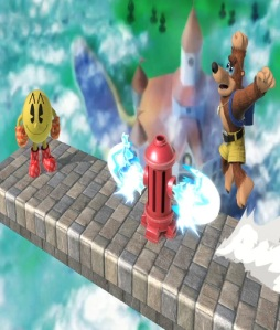 Pac-Man using fire hydrant against banjo and Kazooie Super Smash Bros ultimate Nintendo Switch Bandai Namco