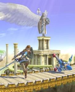 Link vs Falco Palutena's Temple Stage super Smash Bros ultimate Nintendo Switch kid icarus