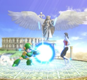 MegaMan vs Wii fit trainer Palutena's Temple Stage super Smash Bros ultimate Nintendo Switch kid icarus