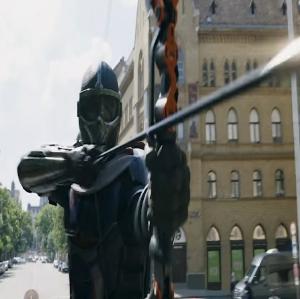 Taskmaster shooting arrows at Natasha black widow 2021