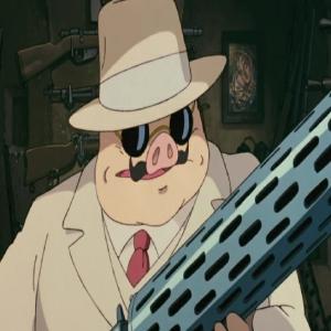 Porco Rosso holding machine gun Hayao Miyazaki studio Ghibli