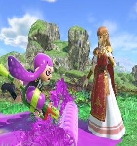 Inkling hits princess Zelda with a paint roller super Smash Bros ultimate Nintendo Switch splatoon