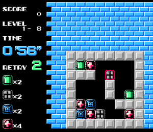 First puzzle Puzznic NES TAITO