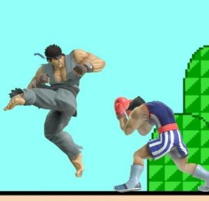 Ryu uses spinning kicks on little mac super Smash Bros ultimate Nintendo Switch street fighter Capcom