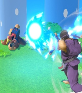 Ryu fires blue hadoken fireball at banjo and Kazooie super Smash Bros ultimate Nintendo Switch street fighter Capcom