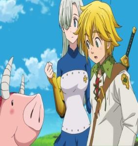 The Seven Deadly Sins anime nanatsu no taizai meliodas and Elizabeth Liones see Hawk transform into a demon pig