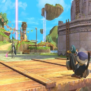 Corrin vs duck hunt Skyloft Stage super Smash Bros ultimate Nintendo Switch the Legend of Zelda skyward sword