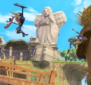 Greninja vs zero suit Samus Skyloft Stage super Smash Bros ultimate Nintendo Switch the Legend of Zelda skyward sword