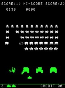 Destroying aliens Space Invaders Taito