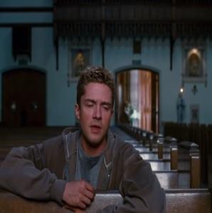 Eddie Brock praying in church Spider-Man 3 Topher grace
