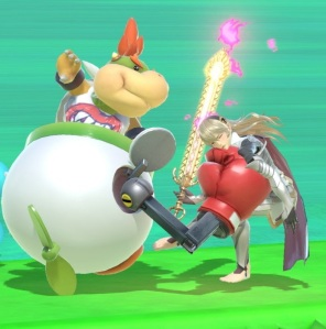 Bowser Jr hitting corrin with boxing glove super Smash Bros ultimate Nintendo Switch