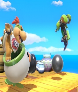 Bowser Jr shooting cannon ball at inkling super Smash Bros ultimate Nintendo Switch