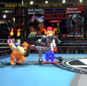 Dark samus vs duck hunt Boxing Ring Stage super Smash Bros ultimate Nintendo Switch Punchout