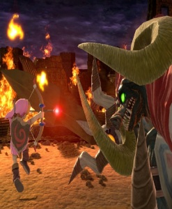 Young link shoots fire arrow at Ganon boss super Smash Bros ultimate Nintendo Switch